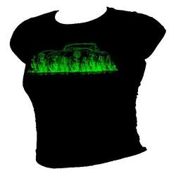 Ac Cobra Classic Le Mans And Kit Car In Green Flames Ladies T-shirt All Sizes
