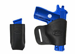 NEW Barsony Black Leather Yaqui Holster + Mag Pouch Taurus KelTec Sccy UltraComp