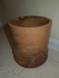 High End Frontgate Brand Marble Stone Wastebasket / Trash Can