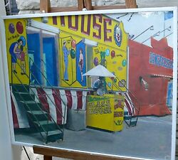 Susan Clover Original Painting Fun House Signed No Date Gouache Paper Carnival