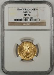 1999-w Emergency Issue 10 Dollar Gold Eagle Age 1/4 Oz Coin Ngc Ms-66