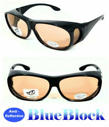 Computer Anti Reflective Block Blue Ray Sunglasses Fit Over Glasses UV Protect $9.95