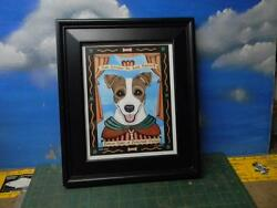 RETRO PETS  SAN TERRIER DE JACK RUSSELL FRAMED POSTER  -GENTLY USED