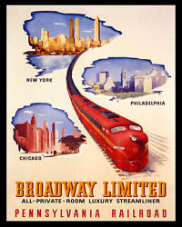 Poster Broadway Limited Luxury Streamliner Train Travel Vintage Repro Free S/h