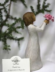 Angel Holding Pink Flowers Thank You Handing Them To Statue Figurine Willow Tree