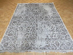 8 X 10'4 Hand Knotted Gray Tone On Tone Wool And Silk Oriental Rug G4059