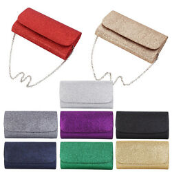 Premium Small Metallic Glitter Flap Clutch Evening Bag Handbag Diff Colors $12.99