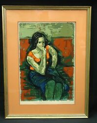 Sensual 50and039s Framed Signed Jan De Ruth 1922-1991 Serigraph Litho No. 74/175