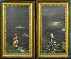 Pair Of Large 40's Signed Gill Chinoiserie Garden Scene Oil Painting