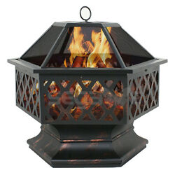 Hex Shaped Patio Fire Pit Outdoor Home Garden Backyard Firepit Bowl Fireplace