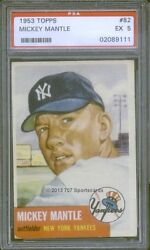 1953 Topps 82 Mickey Mantle PSA 5 (9111)