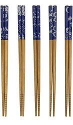 Wholesale Lot 1000 Pair Asian Blue And White Wooden Chopsticks S3649x200
