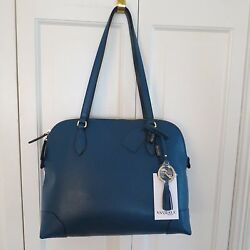 Sophisticated Varriale Designer Leather Satchel PurseShoulder Bag – Blue –