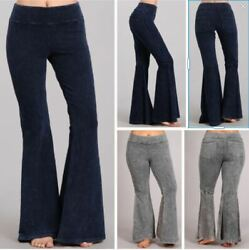 Chatoyant Stone Effect Hippie Bell Bottom Flare Stretch Pants Yoga Plus S 3X USA
