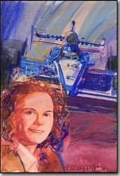 """Sarah Fisher – Indy Sensation"" Original George Bartell water and pencil art"