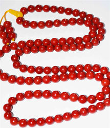 8mm Genuine Red Coral Bracelet Taiwan Prayer Beads Worry Rosary Necklace Natural