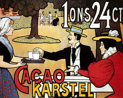 Poster Chocolate Cacao Karstel Hot Cocoa Dutch Waitress Vintage Repro Free S/h