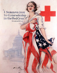 Poster Comradeship In The Red Cross Nurse American Flag Vintage Repro Free S/h