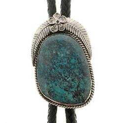One Of A Kind Navajo Genuine Bisbee Turquoise Bolo Tie Sterling By Ahasteen