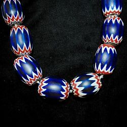African Trade Beads Venetian Chevron Glass 20 Count Aprx 1.25-1.5l Each