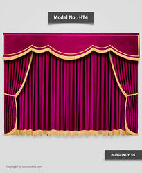 Saaria Burgundy Velvet Home Decorative Event Stage Curtains Panel Drapes 8and039wx8and039h