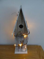 SALE 43cm Battery Operated Pre Lit Xmas Wooden Bird House Christmas Decoration