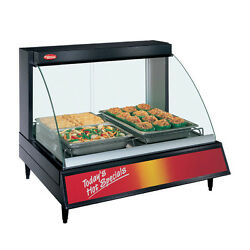 Hatco Grcd-2p Countertop Heated Display With Curved Glass And 2 Pan Single Shelf