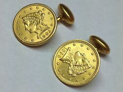 Liberty Coins 1898 And 1903 Solid Gold Cufflinks