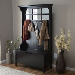 Black Entryway Full Hall Tree Coat Rack Stand Home Furniture Decor Storage Bench