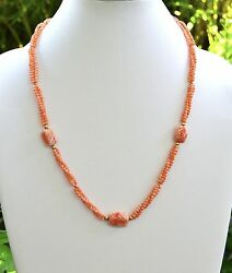Estate New Hawaii Deep Sea Angel Coral 3 Strand 14k Clasp 3 Carved Beads 24.5