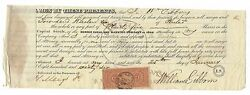 Rare 1866 Signed Morris Canal And Banking Company Stock Certificate 25 C Rev Sta