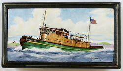 Russell 15 Tugboat Enamel Lid Box By Frank Vosmansky For Abercrombie And Fitch