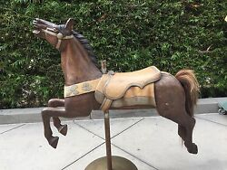 Hand Carved Wooden Carousel Horse - Circa 1905 W/mounting Hdwr Horse Hair Tail