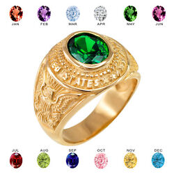 Solid 14k Yellow Gold Us Army Menand039s Cz Birthstone Ring