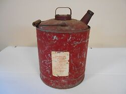 Antique Vintage Metal Two Gallon Gas Can With Old Red Paint -paper Tag On Side