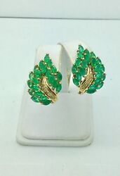Antique 14k Emerald And Diamond Earrings In Yellow Gold
