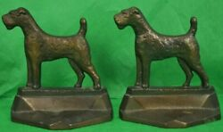 Classic Pair of PAL c1929 Bronze Terrier Dog Bookends