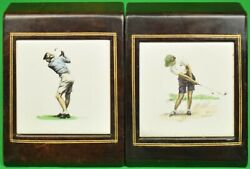 Lady Golfer Plaque Leather Bookends By Milton Weiler