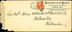 O18 On Dept Of The Interior Cover 7/23/1894 Used After Stamps Expired Bt4028