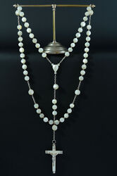Very Large Superb 19thc French Rosary Mother Of Pearl And Sterling Silver