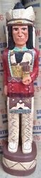 6 Ft Cigar Store Indian Sculpture Native American Red Coat Chief F. Gallagher