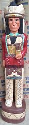 4 Ft Cigar Store Indian Sculpture Native American Red Coat Chief F. Gallagher