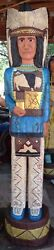 4 Ft Cigar Store Indian Sculpture Native American Blue Shirt Chief F. Gallagher
