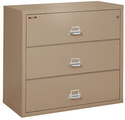 Office Taupe 3 Drawer UL Class 350 1 hour Fireproof Lateral 44