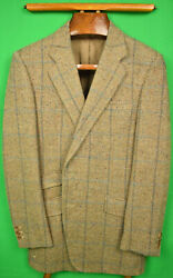 H Huntsman And Sons For Louis Boston Donegal Tweed Windowpane Sport Jacket Sz 41r