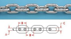 50 Ft Stainless Steel Anchor Chain 316l 5/16 Din 766 Bbb Repl. S0601-0008