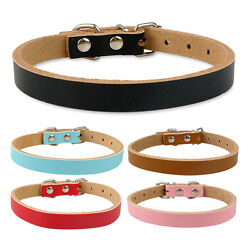 10pcslot Plain Leather Puppy Dog Collars for Small Medium Dogs Beagle Pug