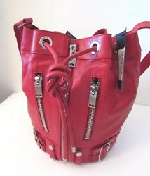$2150 Yves Saint Laurent Calfskin Leather Rider Bucket  Bag Red LARGE SIZE New