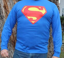 Superman Symbol Logo Cosplay Long Sleeve Shirt Classic Vintage