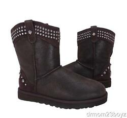 New Ugg Studded Crystal Bowen Womens Brown Sheepskin And Shearling Boots